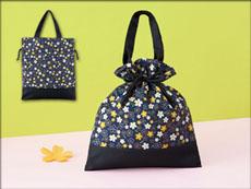 小桜和柄巾着バッグ