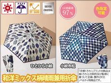 紺色市松和柄折りたたみ傘(晴雨兼用UVカット97%)