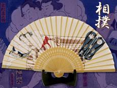 シルク扇子:浮世絵風相撲力士
