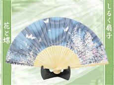 シルク扇子:夜花と蝶